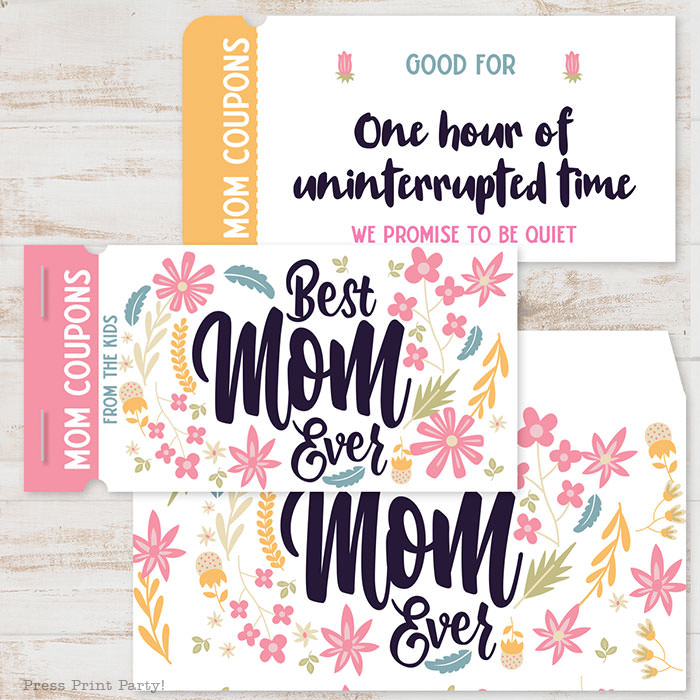 best mom ever mom coupon book template printale. editable with your own text. 110 mom coupon ideas included. with envelope sleeve. Press Print Party!