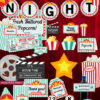 Movie party supplies printable decorations. invitation, banner, signs, cupcake toppers, popcorn box, thank you card. Teal Press Print Party!