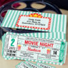 movie night invitation teal with envelope and tickeet stub editable - Press Print Party!