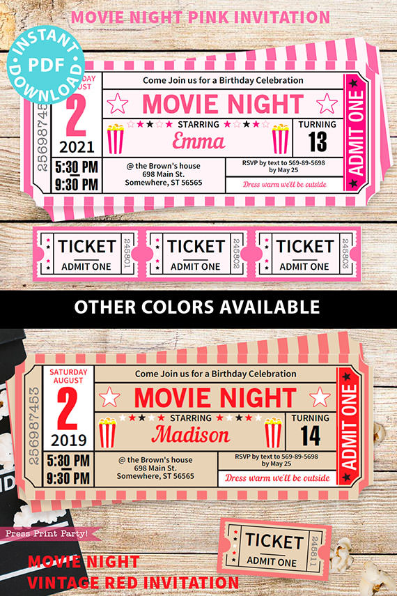movie night invitations in pink and red with ticket stubs - Press Print Party!