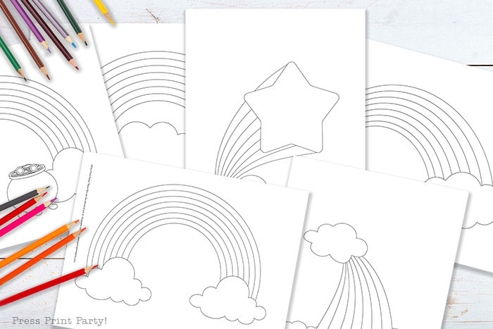 rainbow template coloring pages worksheets free printable. Press Print Party!