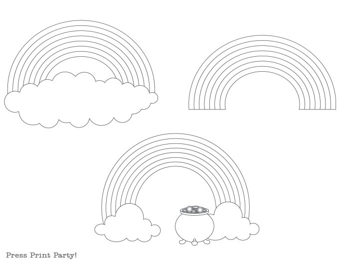 rainbow template coloring pages worksheets free printable. pot of gold Press Print Party!