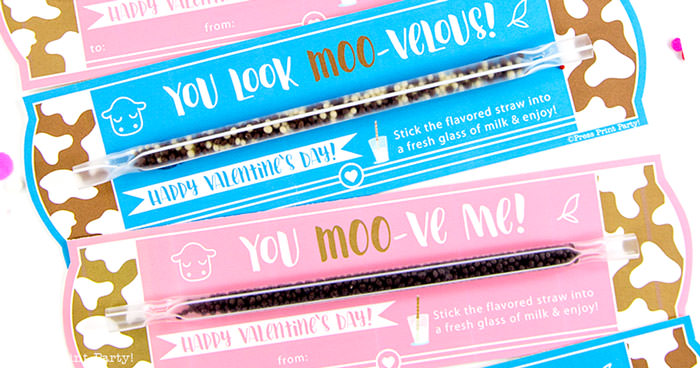 you moove me kids valentines card printable for school Press Print Party