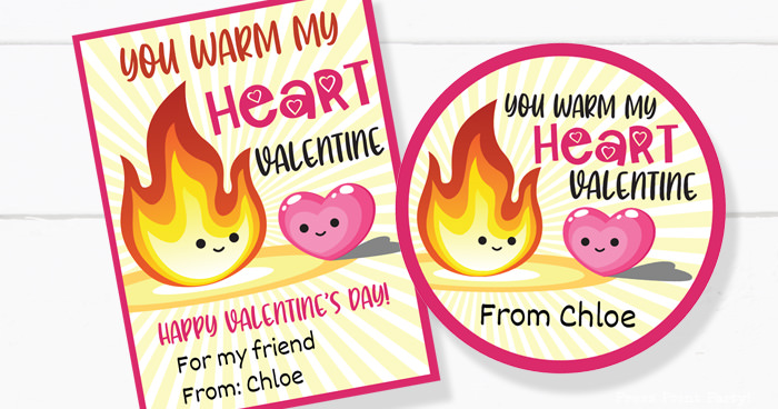 You warm my heart valentine day card for kids Press Print Party