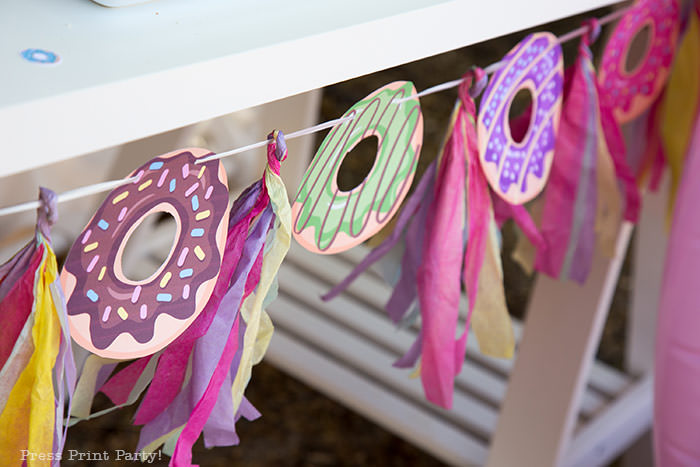 donut garland printable with tassels multicolored. Press Print Party!
