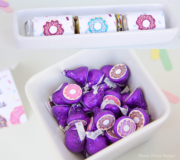 hearshey kisses labels and mini chocolate wraps donut party birthay theme. Press Print Party donut party supplies