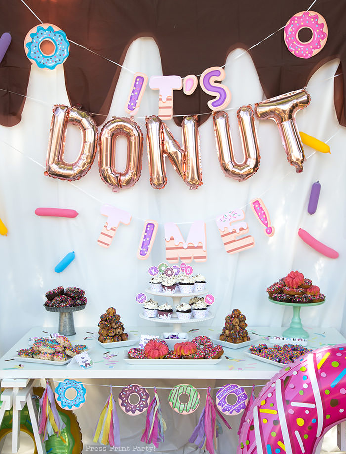 donut bar donut party ideas birthday theme. donut table with decorations Press Print Party