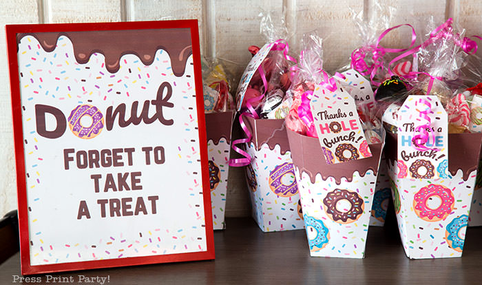 donut party favor and sign. donut forget to take a treat. Press Print Party donut party supplies