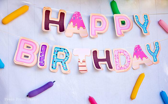 donut happy birthday letters from printable alphabet party supplies. Press Print Party