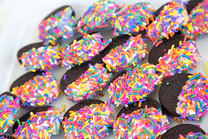 donut party oreos dipped in sprinkles Press Print Party