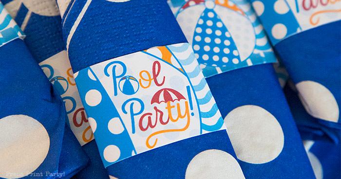 pool party napkin wraps decortions Press Print Party