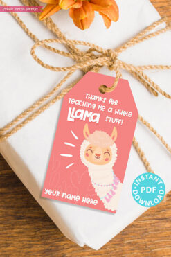 "EDITABLE Teacher Appreciation Gift Tags Printable, Pink Thank You Tag: ""Thanks for teaching me a whole llama stuff!"" INSTANT DOWNLOAD pink tag"