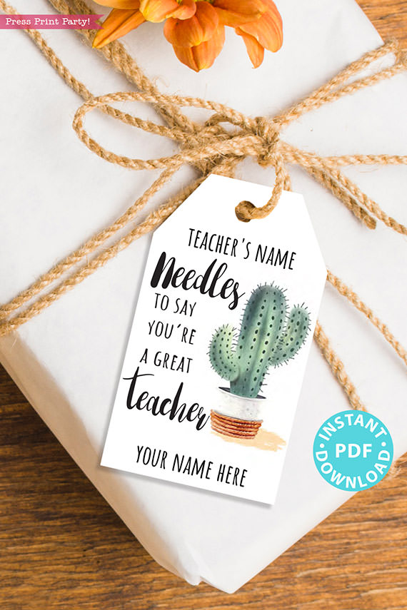 EDITABLE Teacher Appreciation Gift Tags Printable, Cactus, Teacher Thank You Gift Tags, Pun, Needles to Say Great Teacher, INSTANT DOWNLOAD