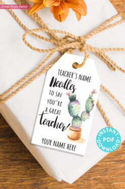 EDITABLE Teacher Appreciation Gift Tags Printable, Teacher Thank You Gift Tags, Cactus Pun, Needles to Say Great Teacher, INSTANT DOWNLOAD