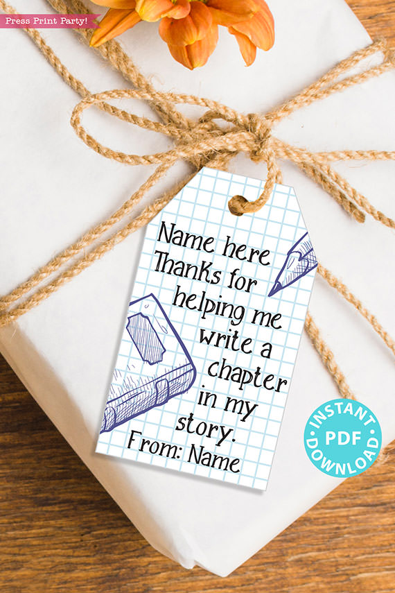 """EDITABLE Teacher Appreciation Gift Tags Printable, Thank You Gift for Teacher, """"Thanks for helping me write a chapter in my story"""" INSTANT DOWNLOAD"""