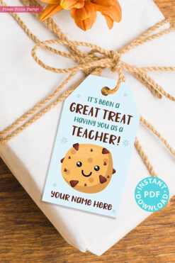 "EDITABLE Teacher Appreciation Gift Tags Printable for Cookies ""It's Been a Great Treat Having You as a Teacher"", Thank You, INSTANT DOWNLOAD blue tag"