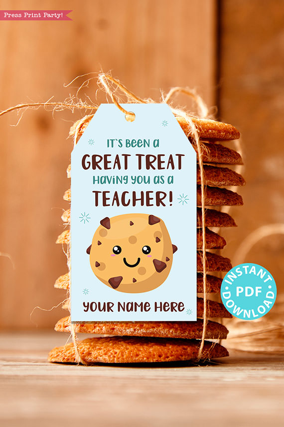 """EDITABLE Teacher Appreciation Gift Tags Printable for Cookies """"It's Been a Great Treat Having You as a Teacher"""", Thank You, INSTANT DOWNLOAD blue tag"""