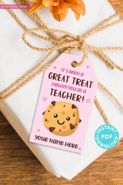"EDITABLE Teacher Appreciation Gift Tags Printable for Cookies ""It's Been a Great Treat Having You as a Teacher"", Thank You, INSTANT DOWNLOAD pink tag"