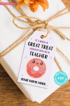 "EDITABLE Teacher Appreciation Gift Tags Printable for Donuts ""It's Been a Great Treat Having You as a Teacher"", Thank You, INSTANT DOWNLOAD"