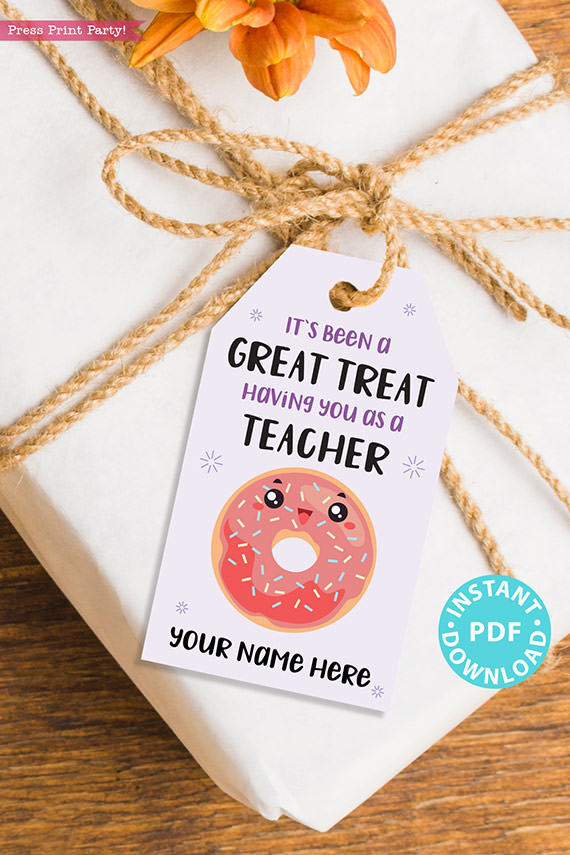 """EDITABLE Teacher Appreciation Gift Tags Printable for Donuts """"It's Been a Great Treat Having You as a Teacher"""", Thank You, INSTANT DOWNLOAD"""