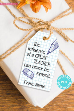 "EDITABLE Teacher Appreciation Gift Tags Printable, Thank You, ""The influence of a great teacher can never be erased."" INSTANT DOWNLOAD"
