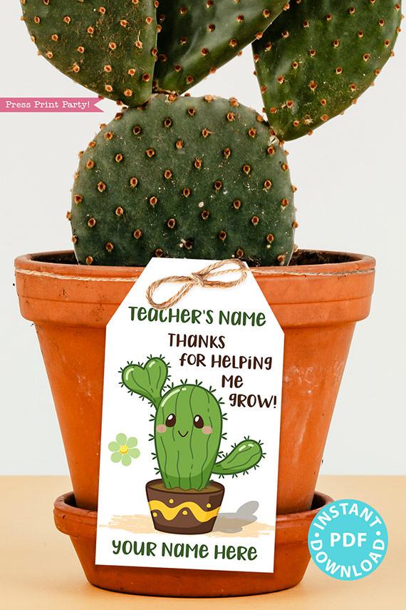 EDITABLE Teacher Appreciation Gift Tags Printable, Cactus Pun, Teacher Thank You Gift Tags, Thanks for helping me grow, INSTANT DOWNLOAD boygirl kawai cactus