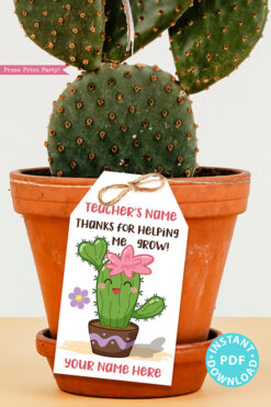EDITABLE Teacher Appreciation Gift Tags Printable, Cactus Pun, Teacher Thank You Gift Tags, Thanks for helping me grow, INSTANT DOWNLOAD girl kawai cactus