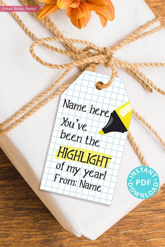 """EDITABLE Teacher Appreciation Gift Tags Printable, Thank You Gift for Teacher, """"You've been the highlight of my year!"""" INSTANT DOWNLOAD"""