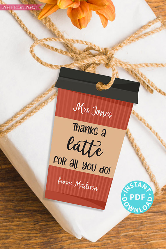 """EDITABLE Teacher Appreciation Gift Tags Printable, Thank You Coffee Card for Staff, """"Thanks a Latte for all you do!"""" INSTANT DOWNLOAD red coffee cup"""