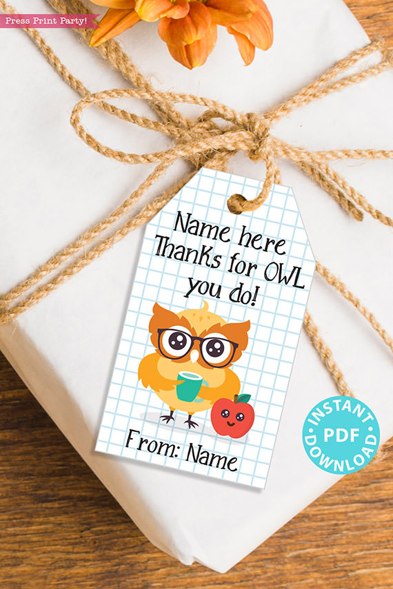 """EDITABLE Teacher Appreciation Gift Tags Printable, Thank You Gift for Teacher or Staff, """"Thanks for Owl you do!"""" INSTANT DOWNLOAD"""