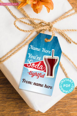"EDITABLE Teacher Appreciation Gift Tags Printable for Donuts ""You're Soda-lightful"", Thank You Gift for Staff, INSTANT DOWNLOAD"