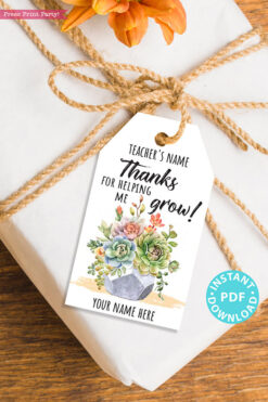 EDITABLE Teacher Appreciation Gift Tags Printable, Teacher Thank You Gift Tags, Pun, Thanks for helping me grow, INSTANT DOWNLOAD with cactus