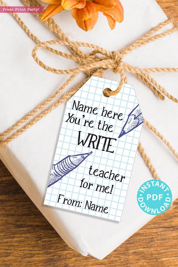 """EDITABLE Teacher Appreciation Gift Tags Printable, Thank You Gift for Teacher, """"You're the write teacher for me!"""" INSTANT DOWNLOAD"""