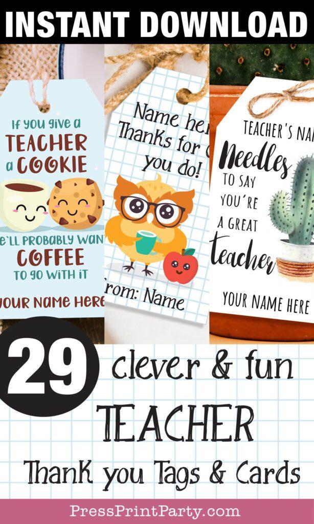 29 étiquettes et cartes d'appréciation des enseignants intelligentes et amusantes à imprimer et des idées de cadeaux qu'ils souhaitent télécharger instantanément.  Ce fut un grand plaisir de vous avoir comme professeur, merci pour le hibou que vous faites, merci un café au lait pour tout ce que vous faites, si vous donnez un cookie à un professeur, il voudra du café pour l'accompagner, vous êtes un soda léger, appuyez sur fête d'impression