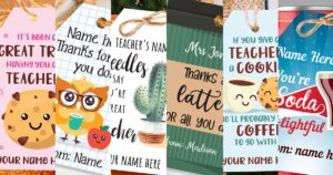 Teacher appreciation tags and cards printable instant download. It's been a great treat having you as a teacher, Thanks for owl you do, thanks a latte for all you do, if you give a teacher a cookie he'll want coffee to go with it, you're soda-lightful, press print party