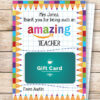 """EDITABLE Amazon Gift Card Holder Teacher Gift Printable Template, 5x7"""", Thank you for being an Amazing Teacher, INSTANT DOWNLOAD TEacher appreciation card"""