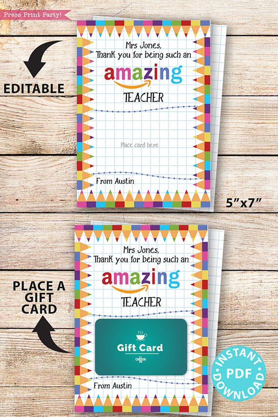 "EDITABLE Amazon Gift Card Holder Teacher Gift Printable Template, 5x7"", Thank you for being an Amazing Teacher, INSTANT DOWNLOAD TEacher appreciation card"