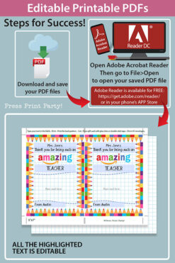 EDITABLE Amazon Gift Card Holder Teacher Gift Printable Template, 5x7