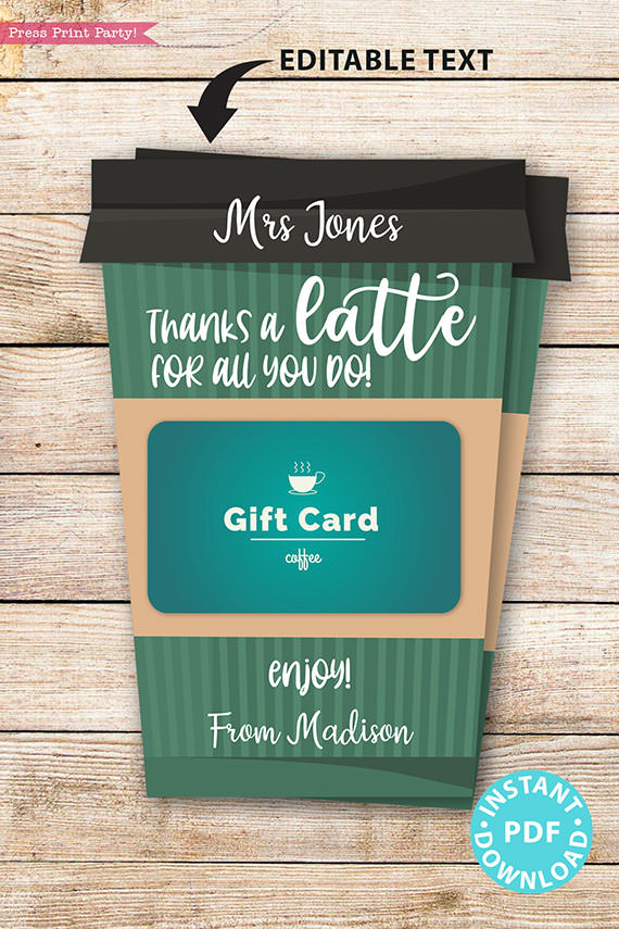 "EDITABLE Coffee Gift Card Holder Teacher Gift Printable Template, 5x7"", Staff, Employee, ""Thanks a latte for all you do"", INSTANT DOWNLOAD green coffee cup"