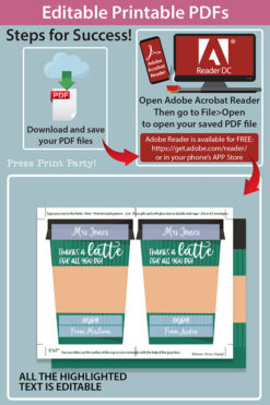 EDITABLE Coffee Gift Card Holder Teacher Gift Printable Template, 5x7