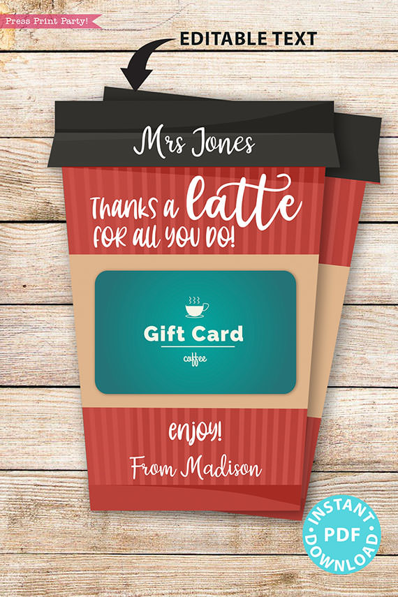 """EDITABLE Coffee Gift Card Holder Teacher Gift Printable Template, 5x7"""", Staff, Employee, """"Thanks a latte for all you do"""", INSTANT DOWNLOAD Red coffee cup"""