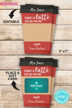 "EDITABLE Coffee Gift Card Holder Teacher Gift Printable Template, 5x7"", Staff, Employee, ""Thanks a latte for all you do"", INSTANT DOWNLOAD Red coffee cup"