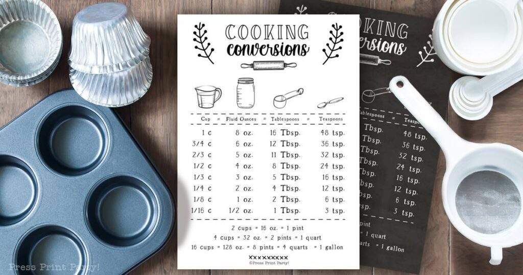 Kitchen conversion chart free printable. Farmhouse style. Cooking conversion for how many oz in a qt and more. Black chalkboard design and white design on counter in kitchen with cups, rolling pin, cupcake pan, spoon measurements.. Cooking measurements. Press Print Party!