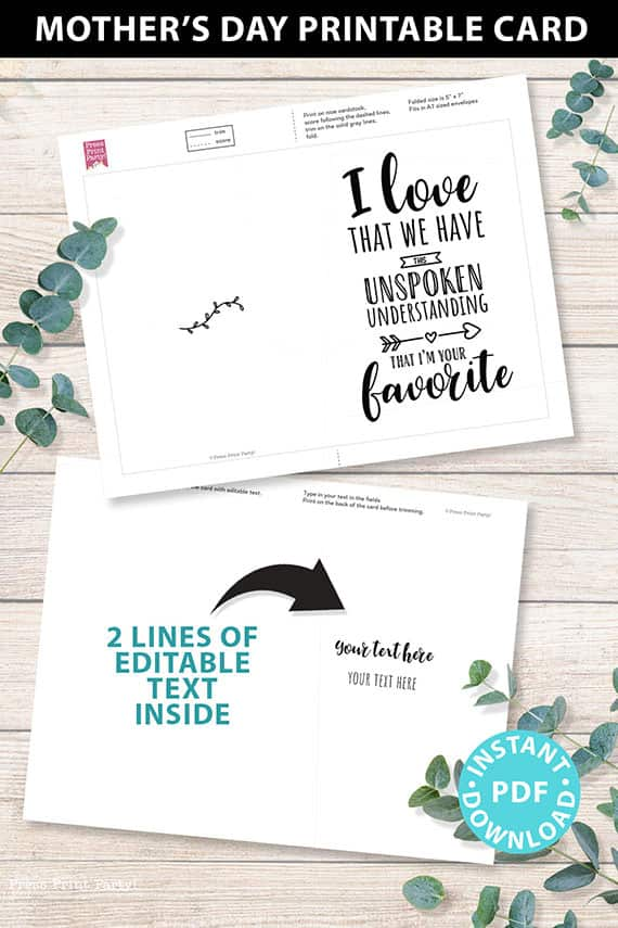 """FUNNY Mother's Day Card Printable, 5x7"""",Mom card, I'm Your Favorite, From Son, From Daughter, Editable Text Inside, INSTANT DOWNLOAD Press Print Party"""