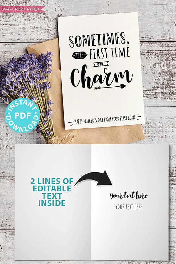 """FUNNY Mother's Day Card Printable, 5x7"""", Mom card, First time is the charm, From Son, From Daughter, Editable Text Inside, INSTANT DOWNLOAD Press Print Party"""