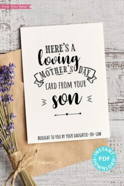 "FUNNY Mother's Day Card Printable, 5x7"", Mom card, Loving Card, From Son, From Daughter in law, Editable Text Inside, INSTANT DOWNLOAD Press Print Party"