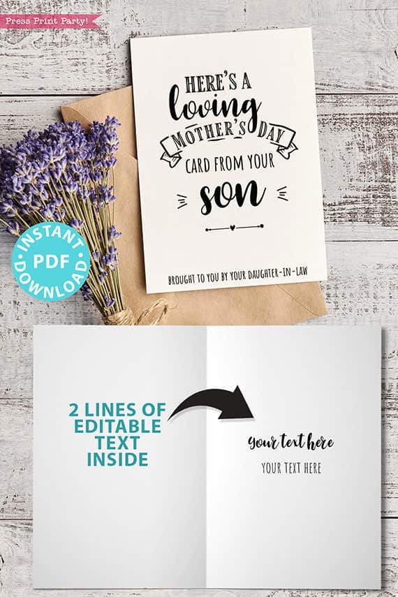 """FUNNY Mother's Day Card Printable, 5x7"""", Mom card, Loving Card, From Son, From Daughter in law, Editable Text Inside, INSTANT DOWNLOAD Press Print Party"""