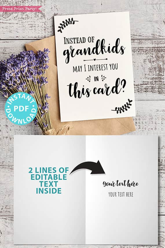 """FUNNY Mother's Day Card Printable, 5x7"""", Mom card, Instead of Grandchildren, From Son, From Daughter, Editable Text Inside, INSTANT DOWNLOAD Press Print Party"""