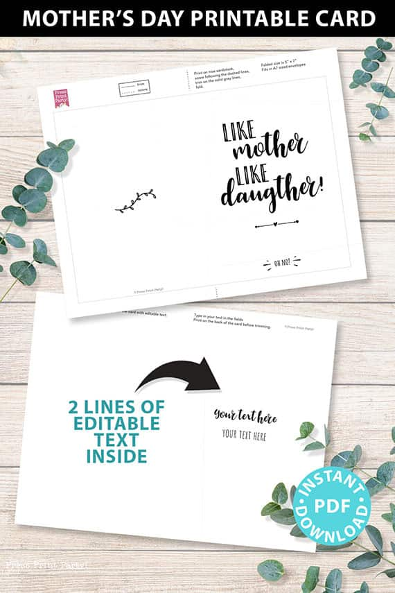 """FUNNY Mother's Day Card Printable, 5x7"""", Mom card, Like mother like daughter - Oh no!, From Daughter, Editable Text Inside, INSTANT DOWNLOAD Press Print Party"""