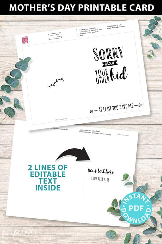 """FUNNY Mother's Day Card Printable, 5x7"""", Mom card, Sorry about your other kid, From Son, From Daughter, Editable Text, INSTANT DOWNLOAD Press Print Party"""